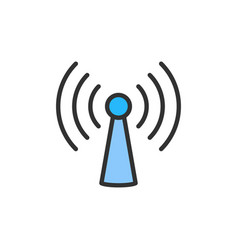 wifi tower antenna flat color line icon vector image