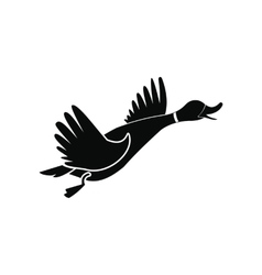 Wild duck black simple icon vector image