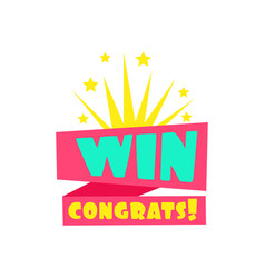 win congratulations sticker design template for vector image
