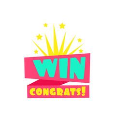 Win congratulations sticker design template vector