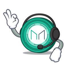 With headphone maker coin mascot cartoon vector