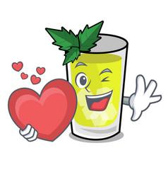 With heart mint julep mascot cartoon vector