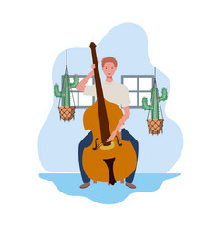 Young man with fiddle and houseplants on macrame vector