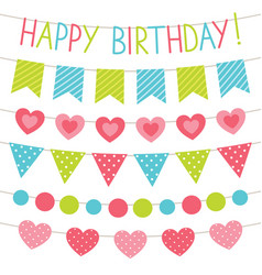 birthday party bunting flags set vector image