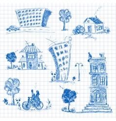 City doodle set vector image vector image