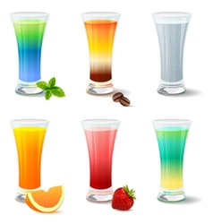 Different cocktails and juices on white vector image
