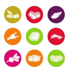 Line vegetable icon set vector image