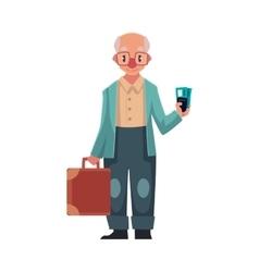 Old senior man in retro glasses holding suitcase vector