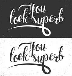Phrase you look superb calligraphy gift handmade vector