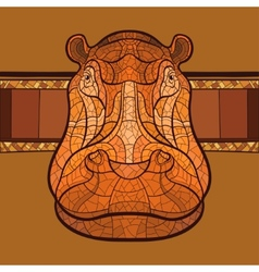 Hippo head with ethnic ornament vector image vector image