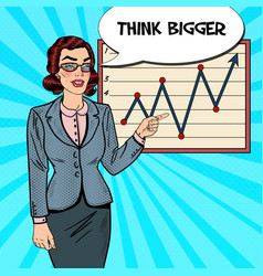 pop art business woman pointing on growth graph vector image vector image