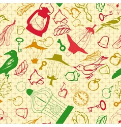 Romantic seamless pattern with retro objects vector image