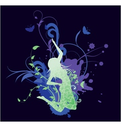 splash floral background with girl vector image vector image