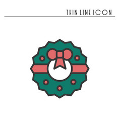 christmas wreath with bow thin line icon new year vector image