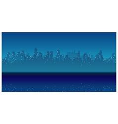 City skyline waterfront night vector