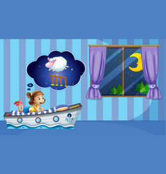 Girl counting sheep at bedtime vector