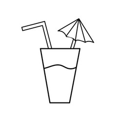 Line delicious water glash to refresh the day vector