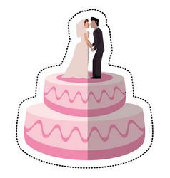 sweet cake wedding with couple vector image vector image