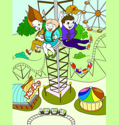 thrill from a free fall from this tower color vector image