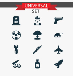 army icons set collection of rocket weapons vector image