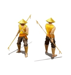 Character fighter-monk with both sides on white vector image