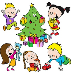 children playing with toys and christmas tree vector image