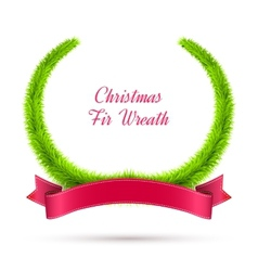 Christmas Fir Wreath with Red Ribbon Isolated on vector image
