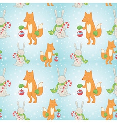 Christmas seamless pattern with bunny and fox vector image vector image
