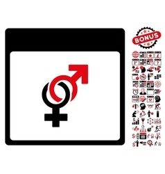 Marriage Calendar Page Flat Icon With Bonus vector image vector image