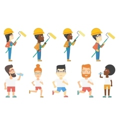 set of builders and sportsmen characters vector image vector image