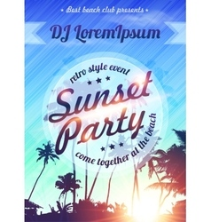 Summer holidays beach sunset party poster template vector image