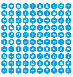 100 toys for kids icons set blue vector image