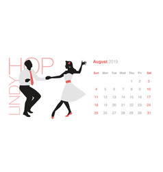 2019 dance calendar august young couple wearing vector