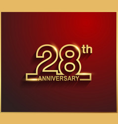 28 anniversary line style golden color vector
