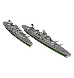 3d a two long grey military ships on a white vector