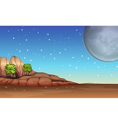 A desert under the bright full moon and sparkling vector
