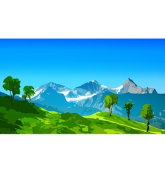 Alps mountains with green fields vector