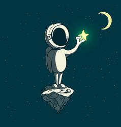 Astronaut boy keeps a shining star vector