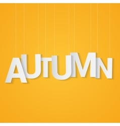 Autumn paper letters attached to string over vector