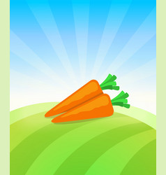 banner template with carrot - vegetables trade vector image