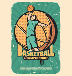 Basketball sport retro poster with player and ball vector