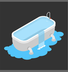 Bath clogged leakage canalization water on floor vector