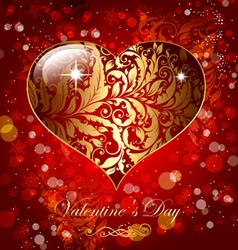 Beautiful card with golden heart vector