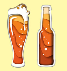 beer in paper art style vector image