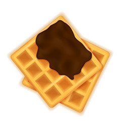 belgian waffle with chocolate sweet dessert for vector image