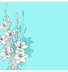 Black and white of lily on blue background vector