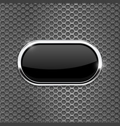 Black oval glass button on metal perforated vector