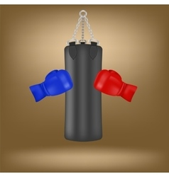 Boxing gloves and black sport bag vector