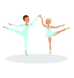 boy and girl ballet dancers vector image