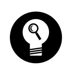 bulb light with magnifying glass vector image